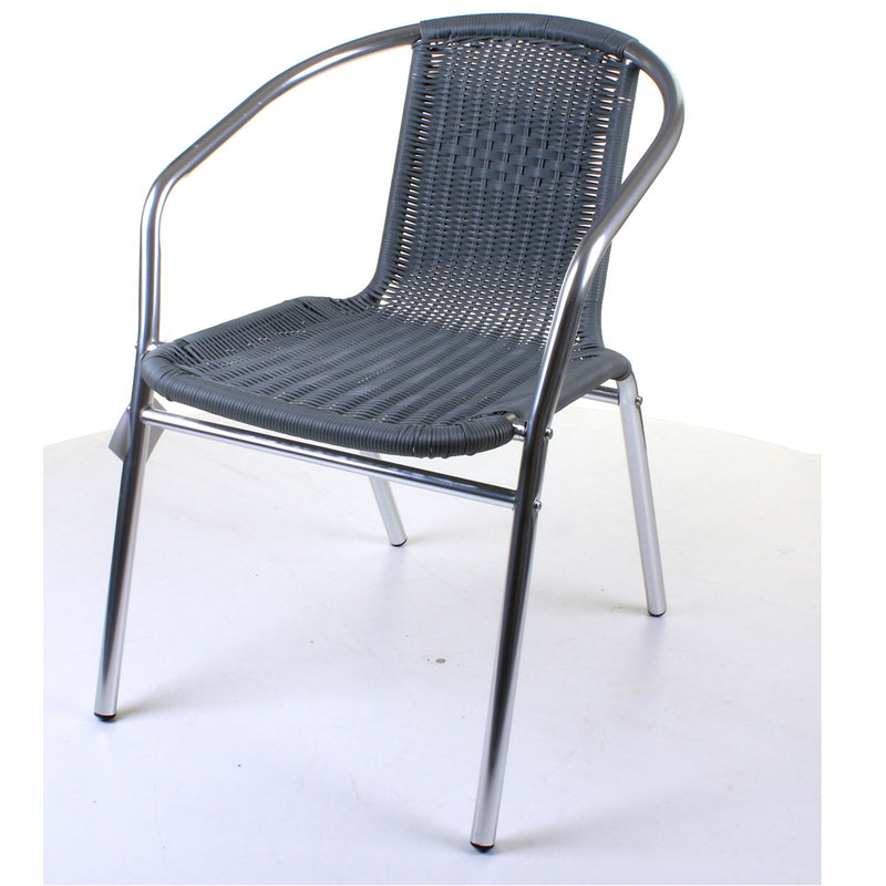 Chrome with Grey Wicker Bistro Chair