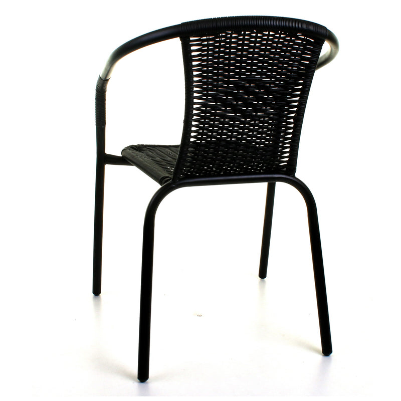3PC Black Wicker Bistro Set