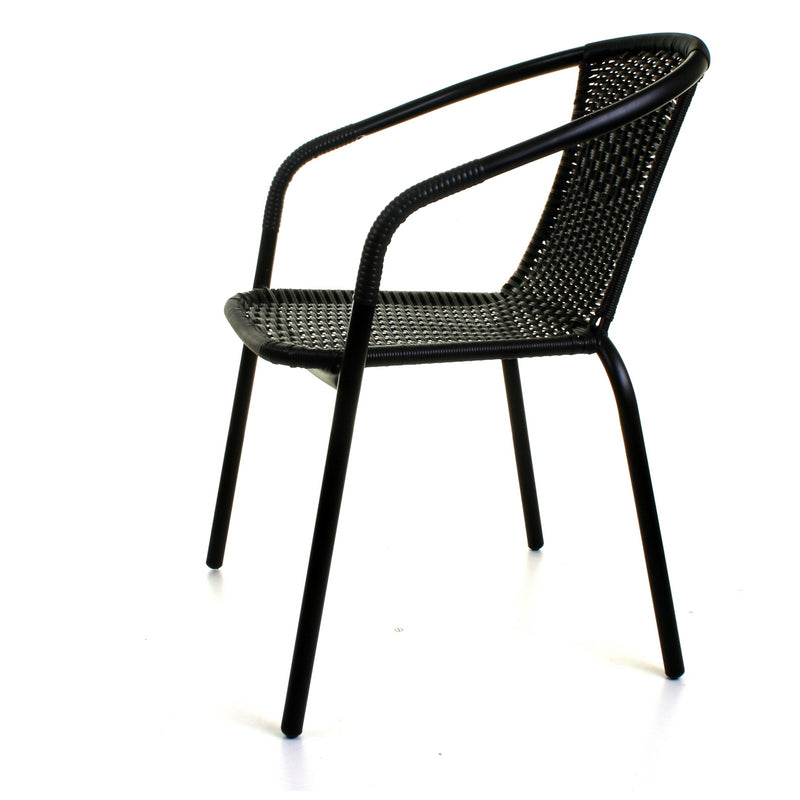 5PC Black Wicker Bistro Set