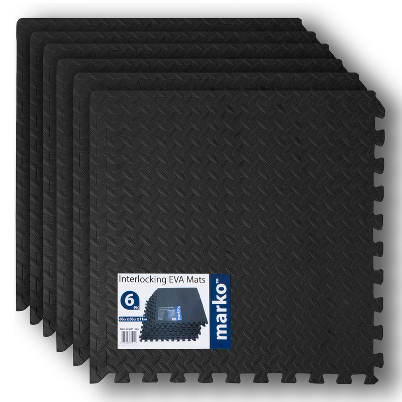 6PK Black Interlocking EVA Mats