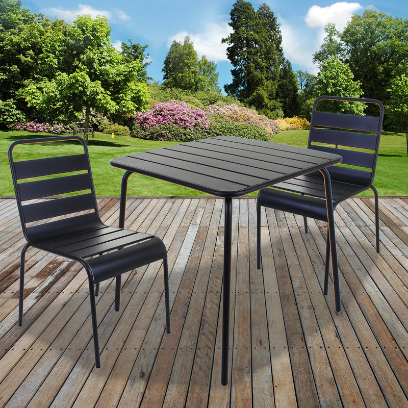 Slatted Bistro Square Table & Chair Sets