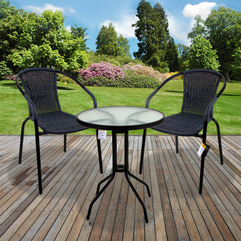 3PC Grey Wicker Bistro Set