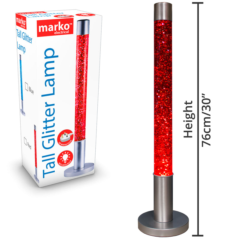 Tall Glitter Lamp - Red