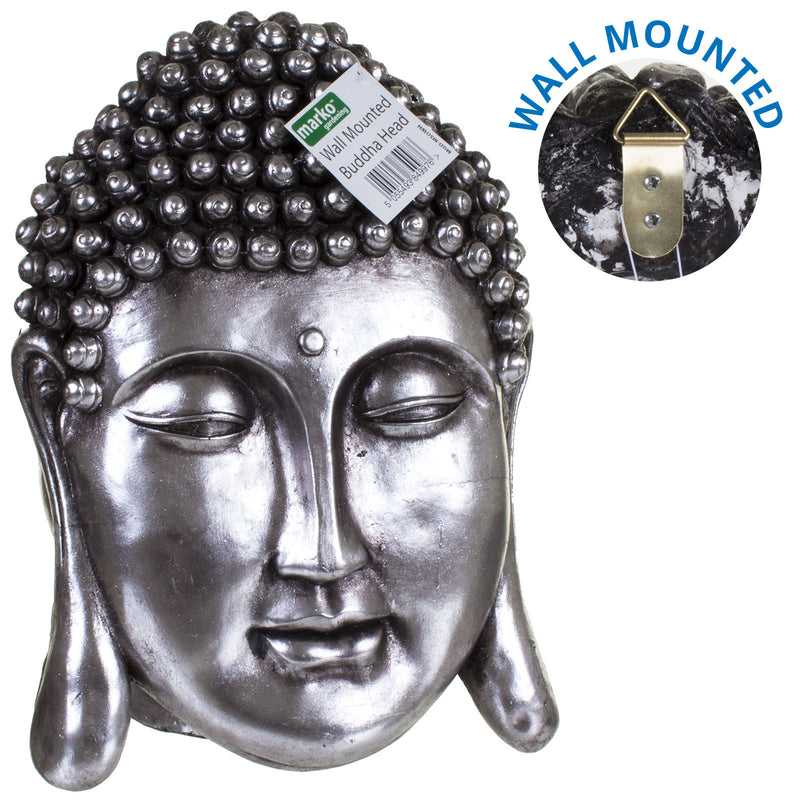 Metallic Silver Wall Mounted Buddha Head
