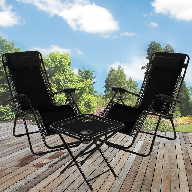 3PC Reclining  Sun Lounger Set - Black