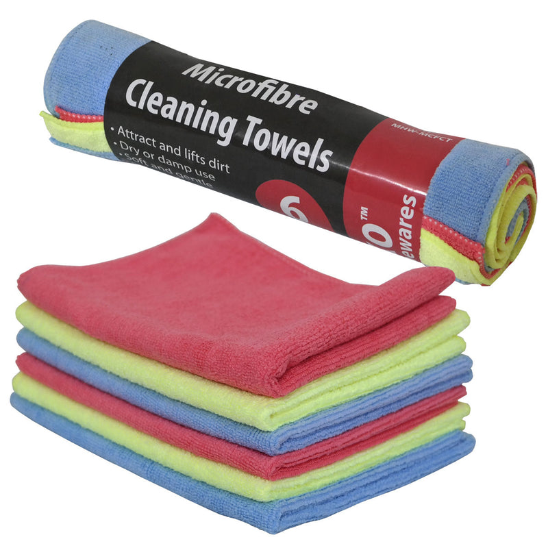 Microfibre Cleaning Towels - 6 Pk