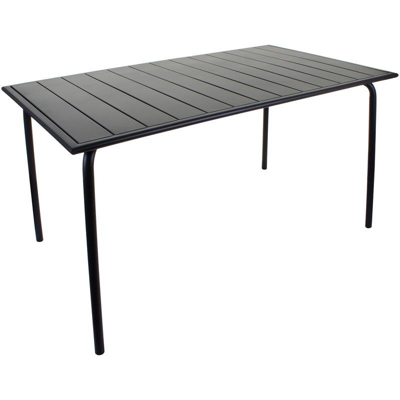 Slatted Bistro Rectangular Table - Sand Grey