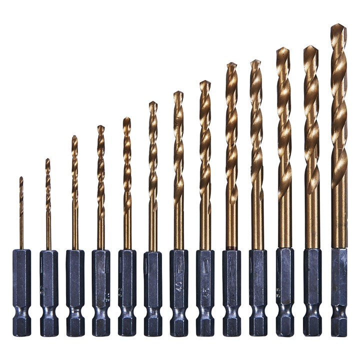 "13pc 1/4"" Titanium Coated Hss Drill Bit Set"