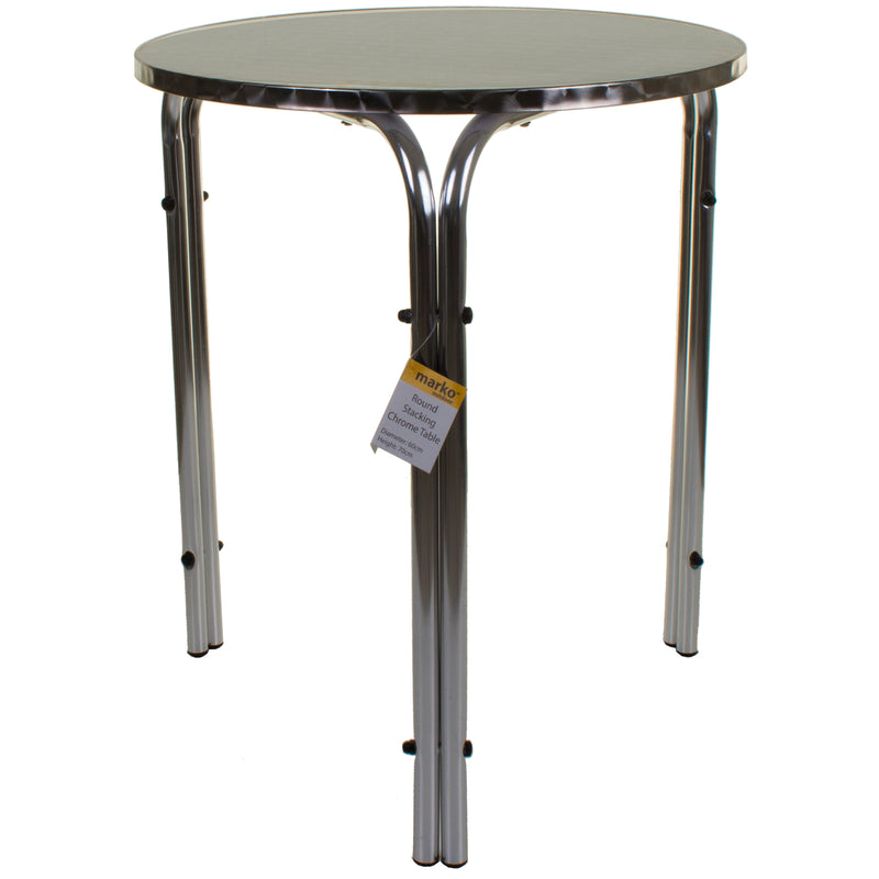 Havana 70cm Round Stacking Chrome Table