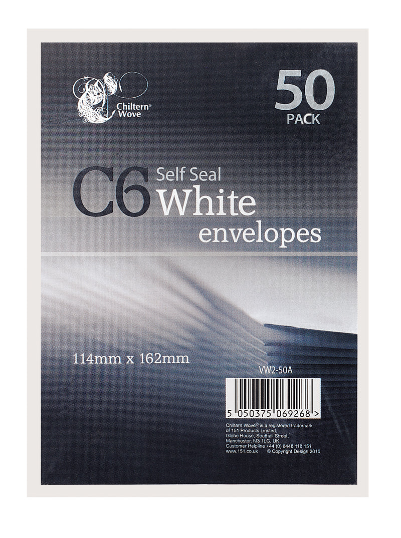 Envelopes Self Seal White C6 50pk