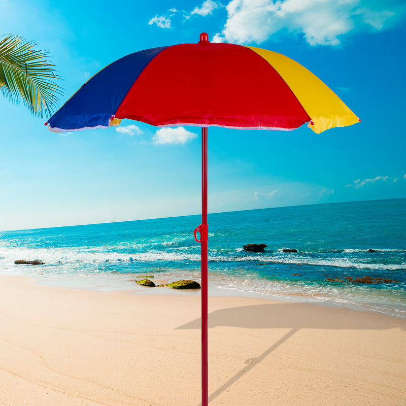 1M Multi Coloured Beach Umbrella