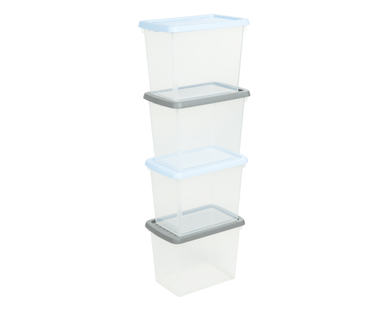 4.02 Wham Box & Lid 6.7L Set of 4 Clear/Assorted