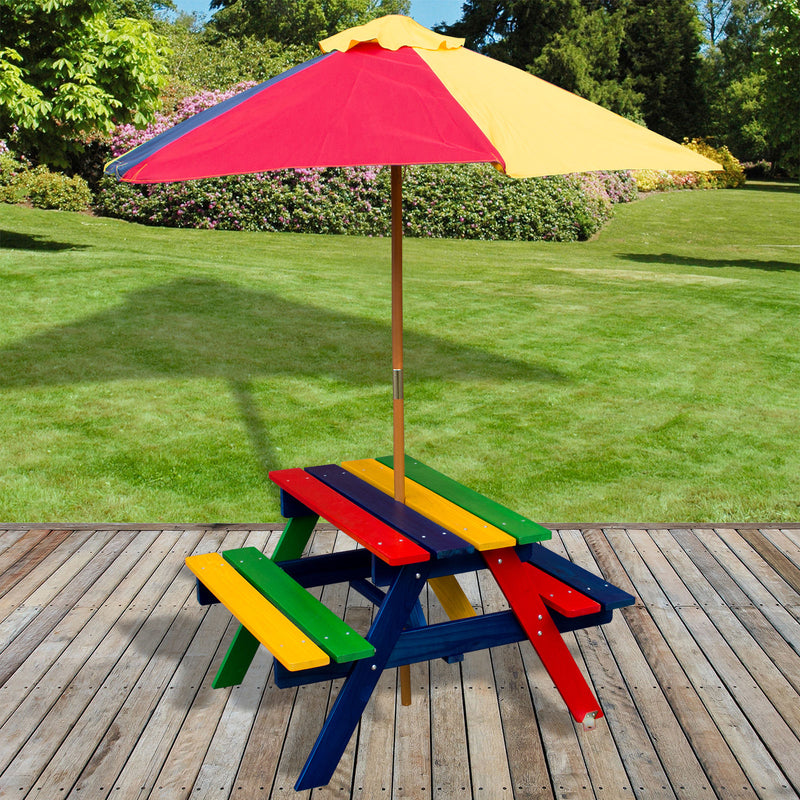 Children Wooden Bench Table With Parasol