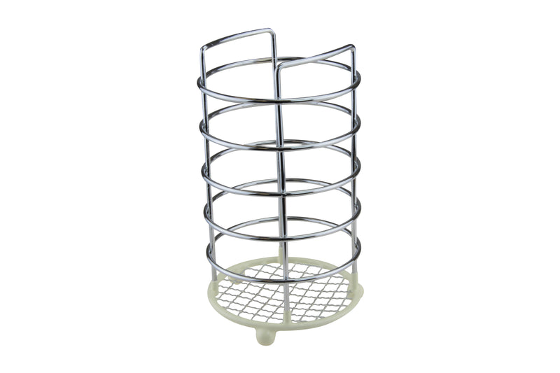 Chrome Dip Utensil Holder Cream