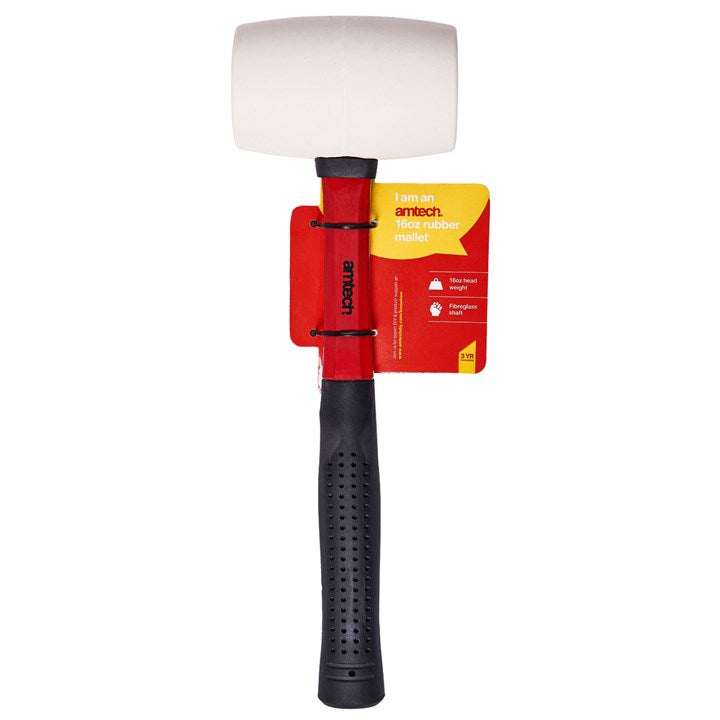 16oz White Rubber Mallet - Fibreglass Shaft