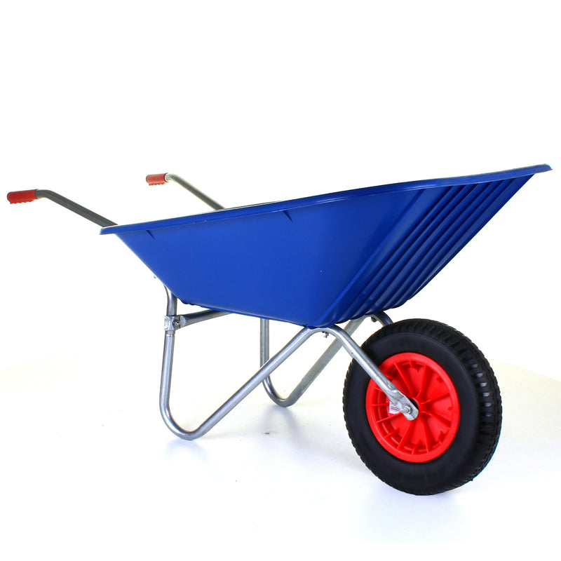 85L Plastic Wheelbarrow - Blue - Puncture Proof