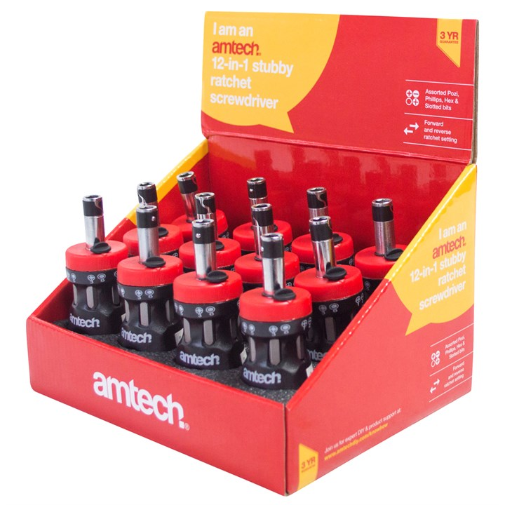 12-In-1 Stubby Ratchet Screwdriver