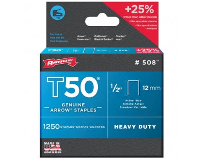 "Arrow T50 Staples 12mm 1/2"" Pack of 1250"