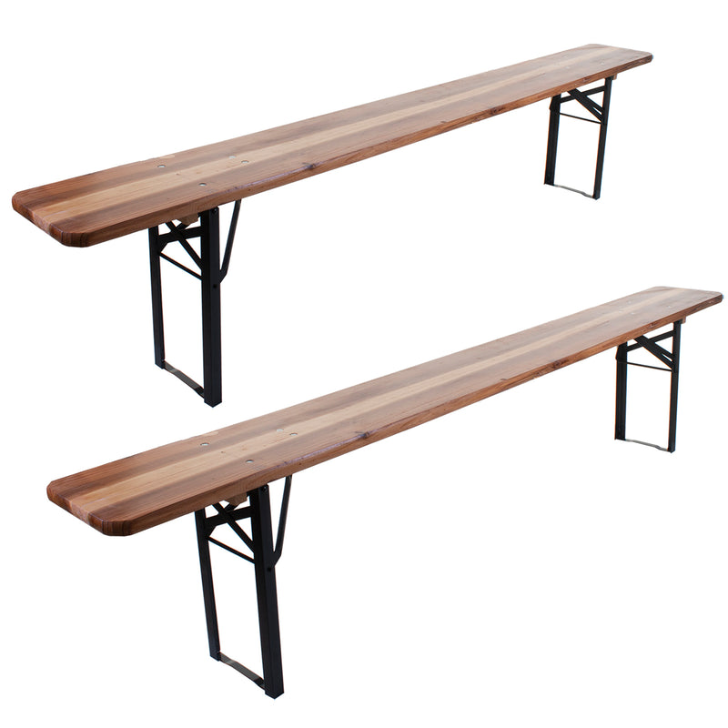 Set of 2 Folding Wooden Benches