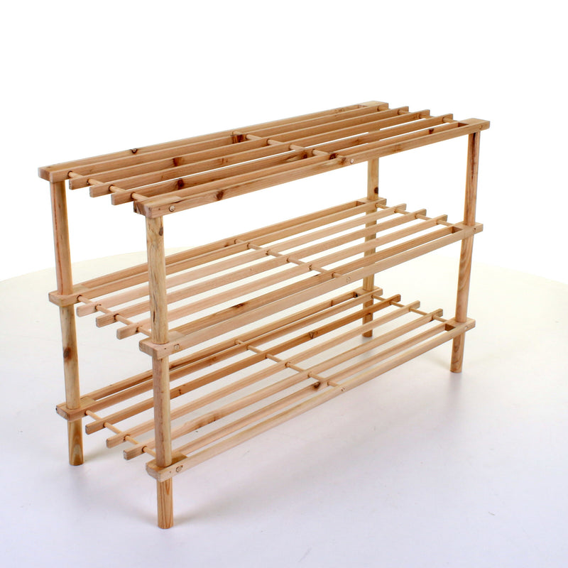 3 Tier Wooden Shoe Rack - Pine