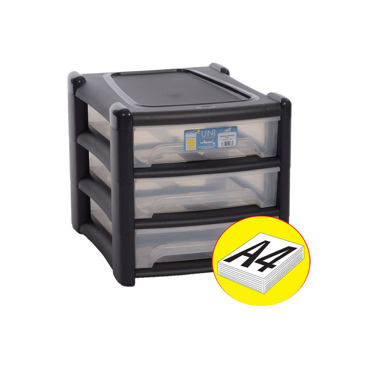 Shallow 3 Drawer Unit Graphite/Clear