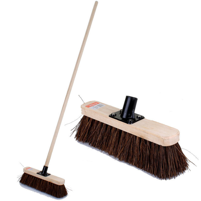 "12"" Stiff Bassine Broom with Handle"