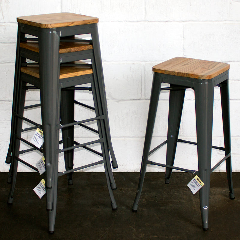 Firenze Bar Stool - Graphite Grey - Set of 4