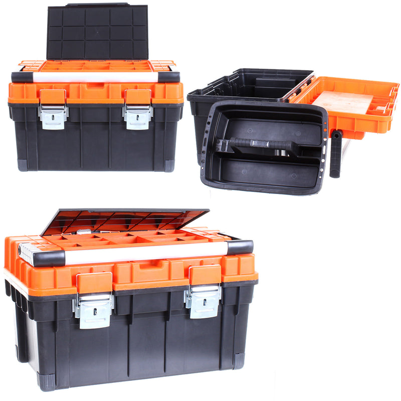 Heavy Duty Toolbox - Orange Lid