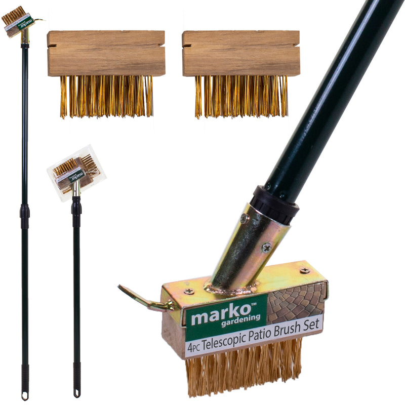 4PC Telescopic Patio Weed Brush Set