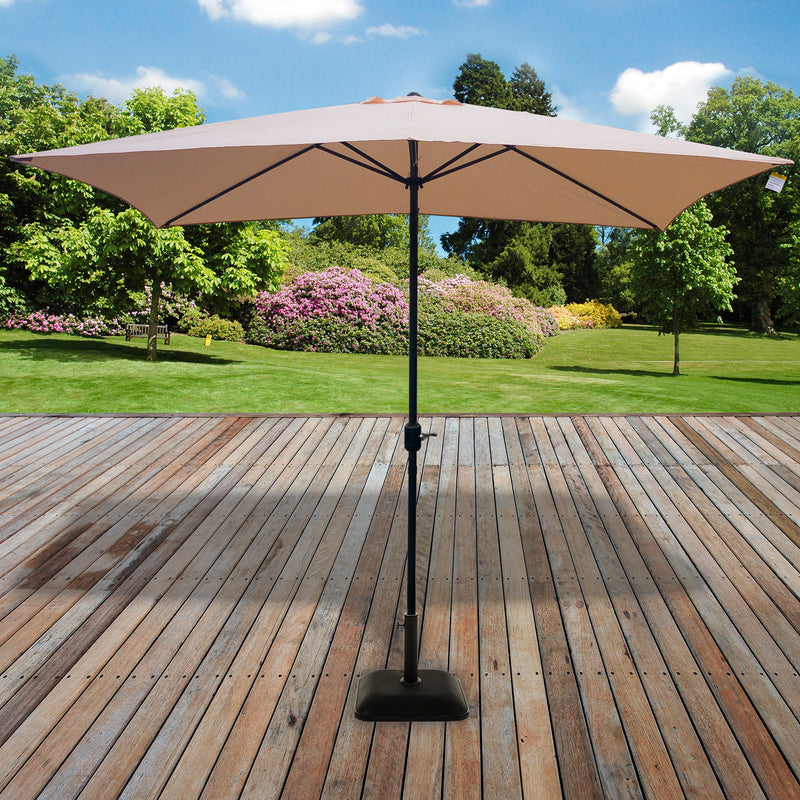 2M x 3M Rectangular Crank Parasol - Cream