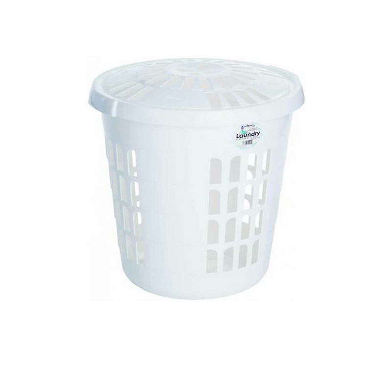 Deluxe Round Laundry Hamper Ice White