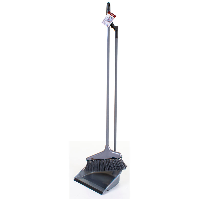 Grey Long Handled Dustpan & Brush