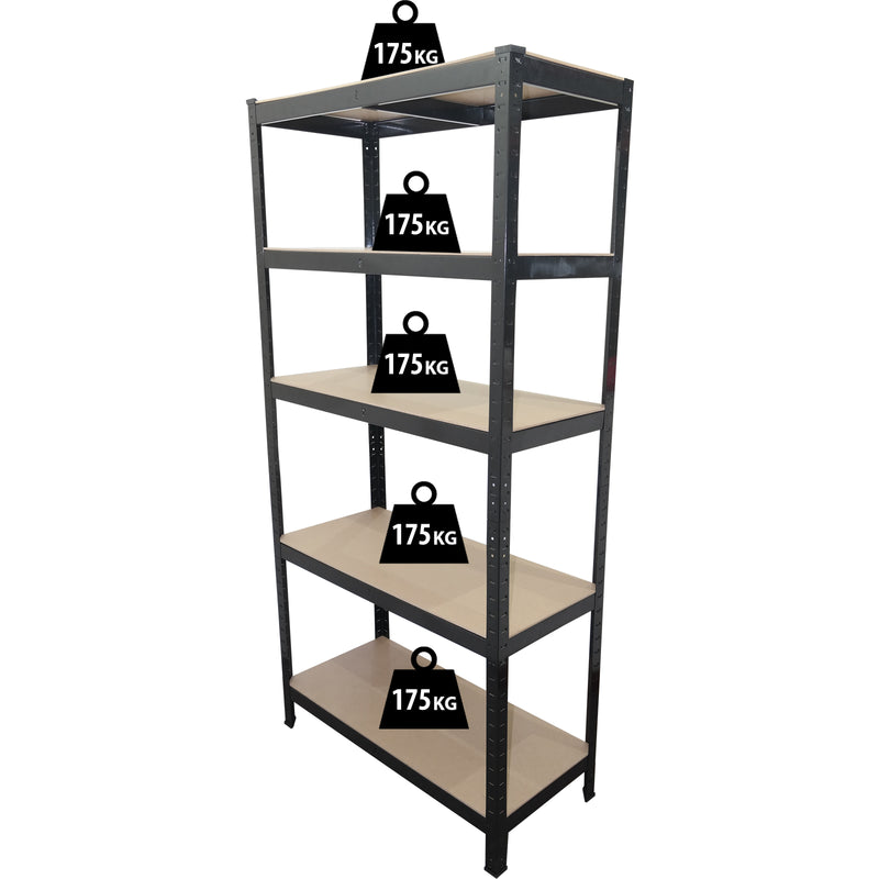 1.5M Black Metal Shelving Unit