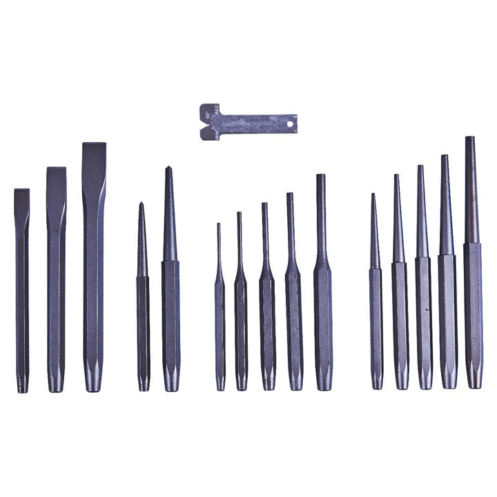 16pc Mechanics' Punch & Chisel Set