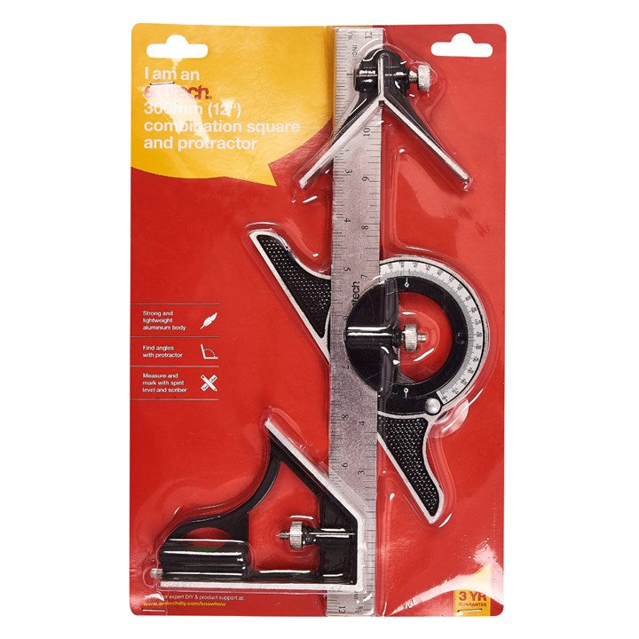 "12"" Combination Square And Protractor"