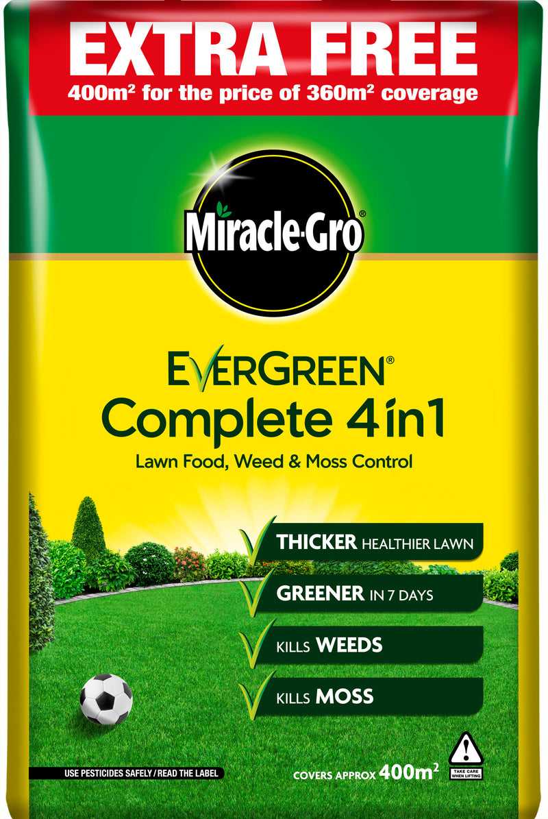 Miracle Gro® Evergreen® Complete 4 in 1 with unique WaterSmart™  12.6KG plus 10% free 400 sqm