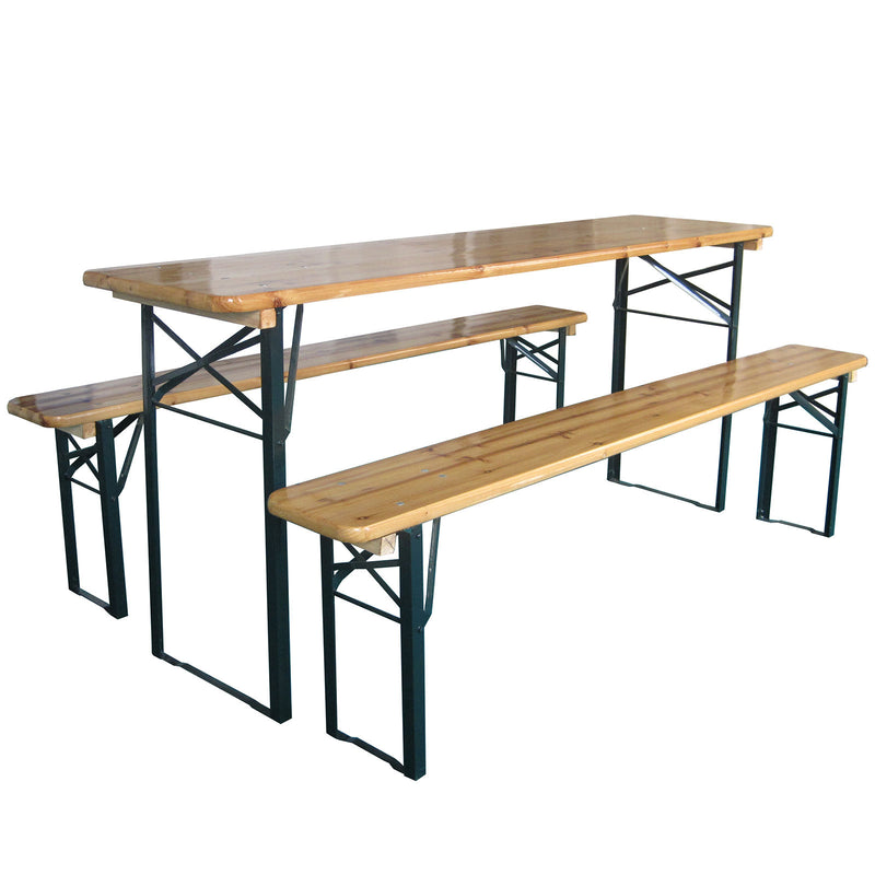 Long Folding Table and Bench Set