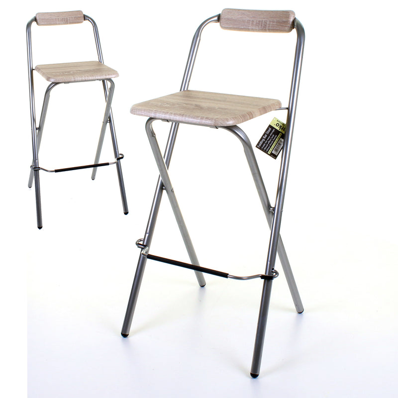 Folding Bar Stool - Wood Effect