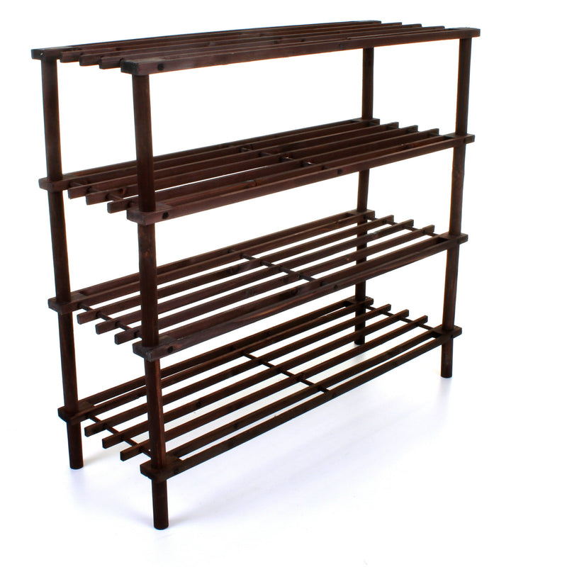 4 Tier Wooden Shoe Rack - Walnut