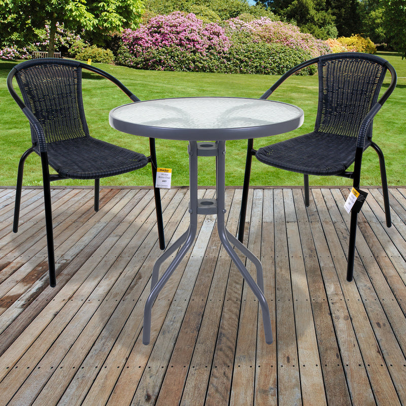 3PC/5PC Grey Wicker Bistro Sets - Silver Table