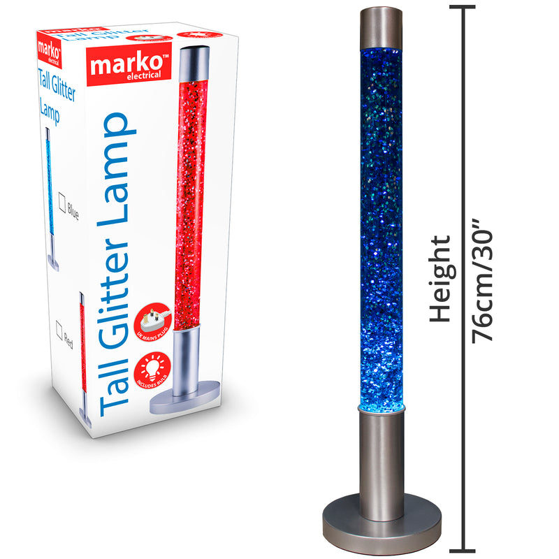 Tall Glitter Lamp - Blue