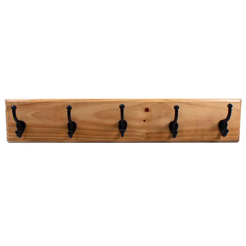 Oak Coat Rack with 5 Twin Hooks