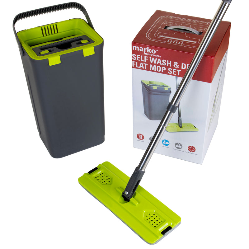 Self Wash & Dry Flat Mop & Bucket Set