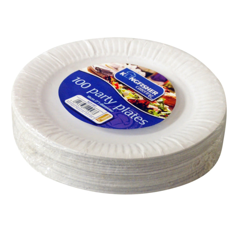 White Disposable Plates 100pk