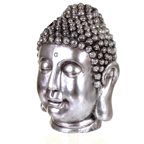 Metallic Silver Buddha Head