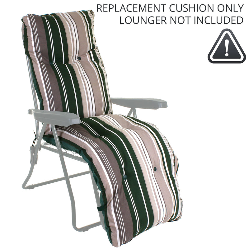 Sun Lounger CUSHION ONLY - Green Stripes