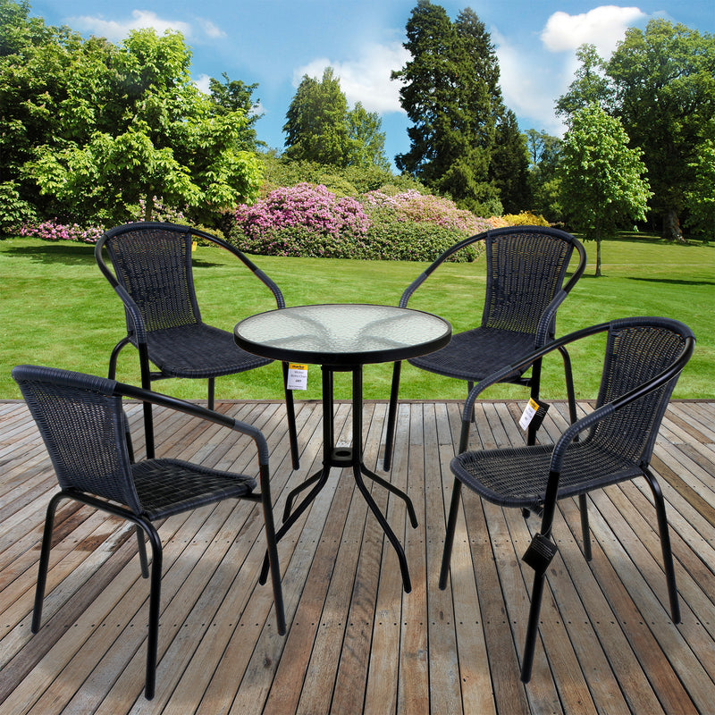 5PC Grey Wicker Bistro Set