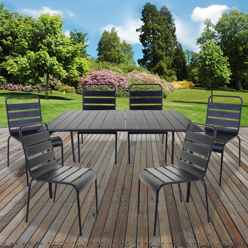 Slatted Bistro Rectangular Table & Chair Sets