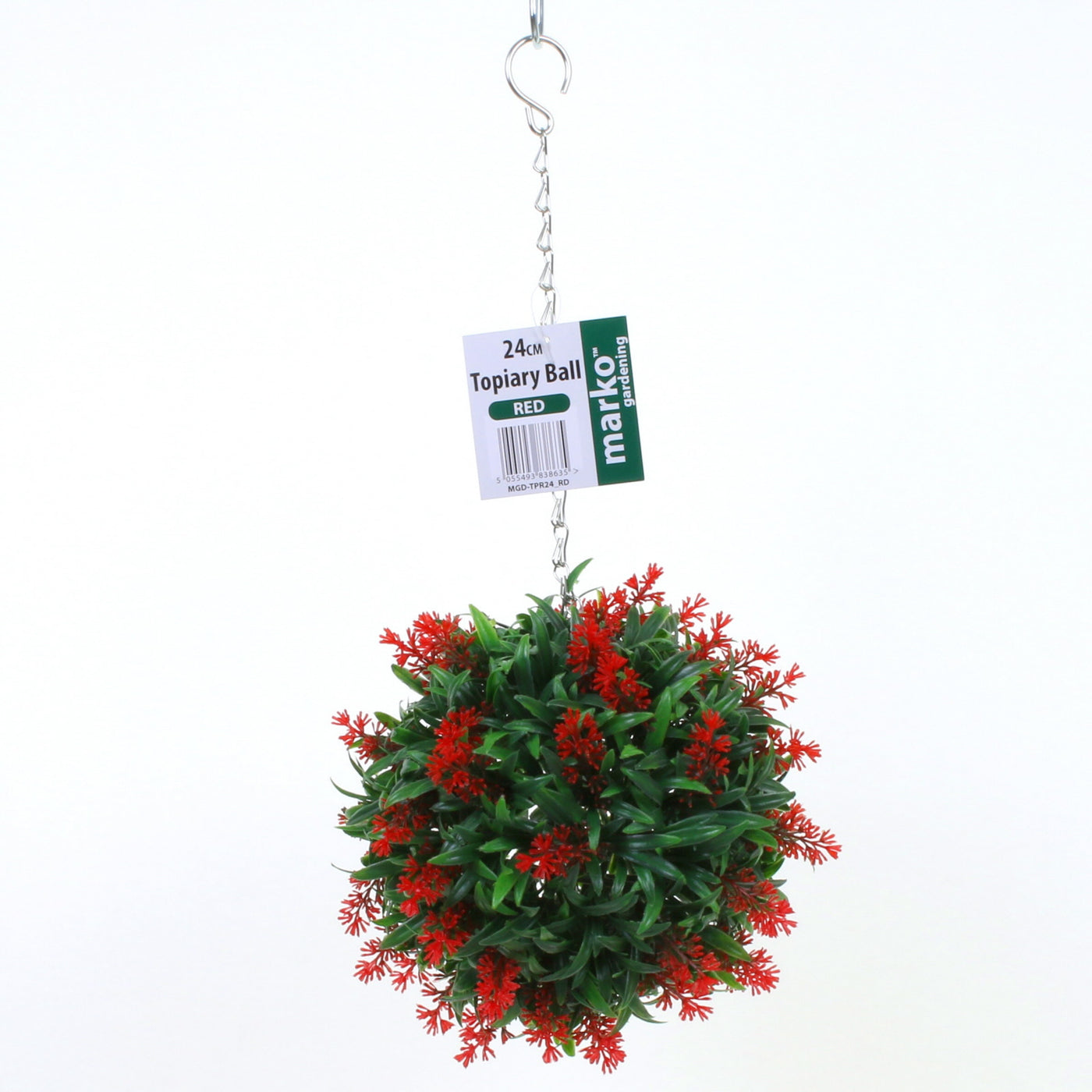 Christmas Topiary Balls.24cm Lavender Topiary Ball Red
