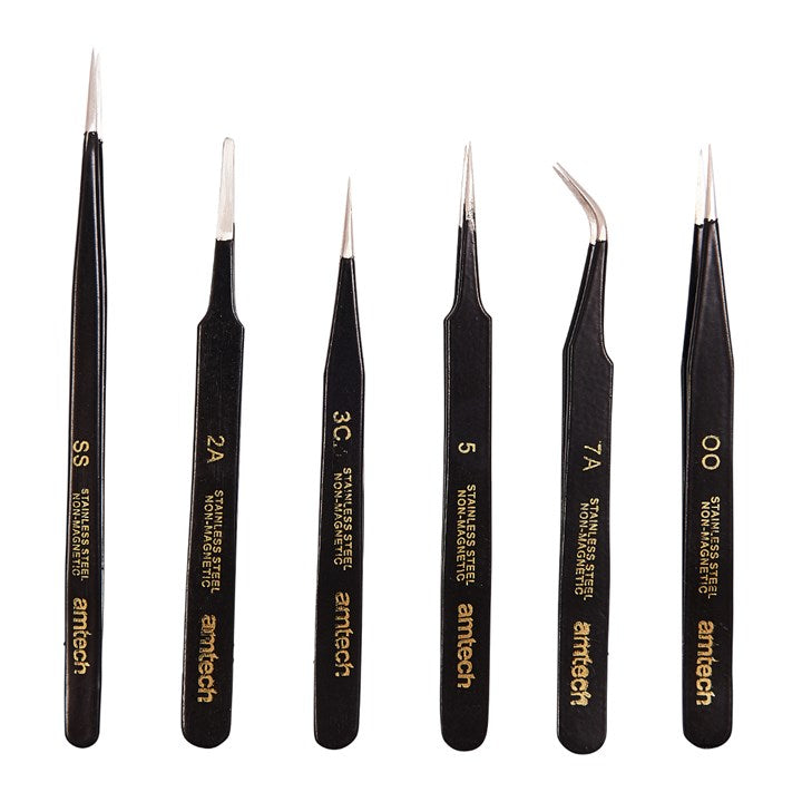 6pc Coated Tweezer Set